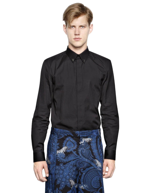 givenchy 17 cotton poplin shirt in black for men lyst. Black Bedroom Furniture Sets. Home Design Ideas