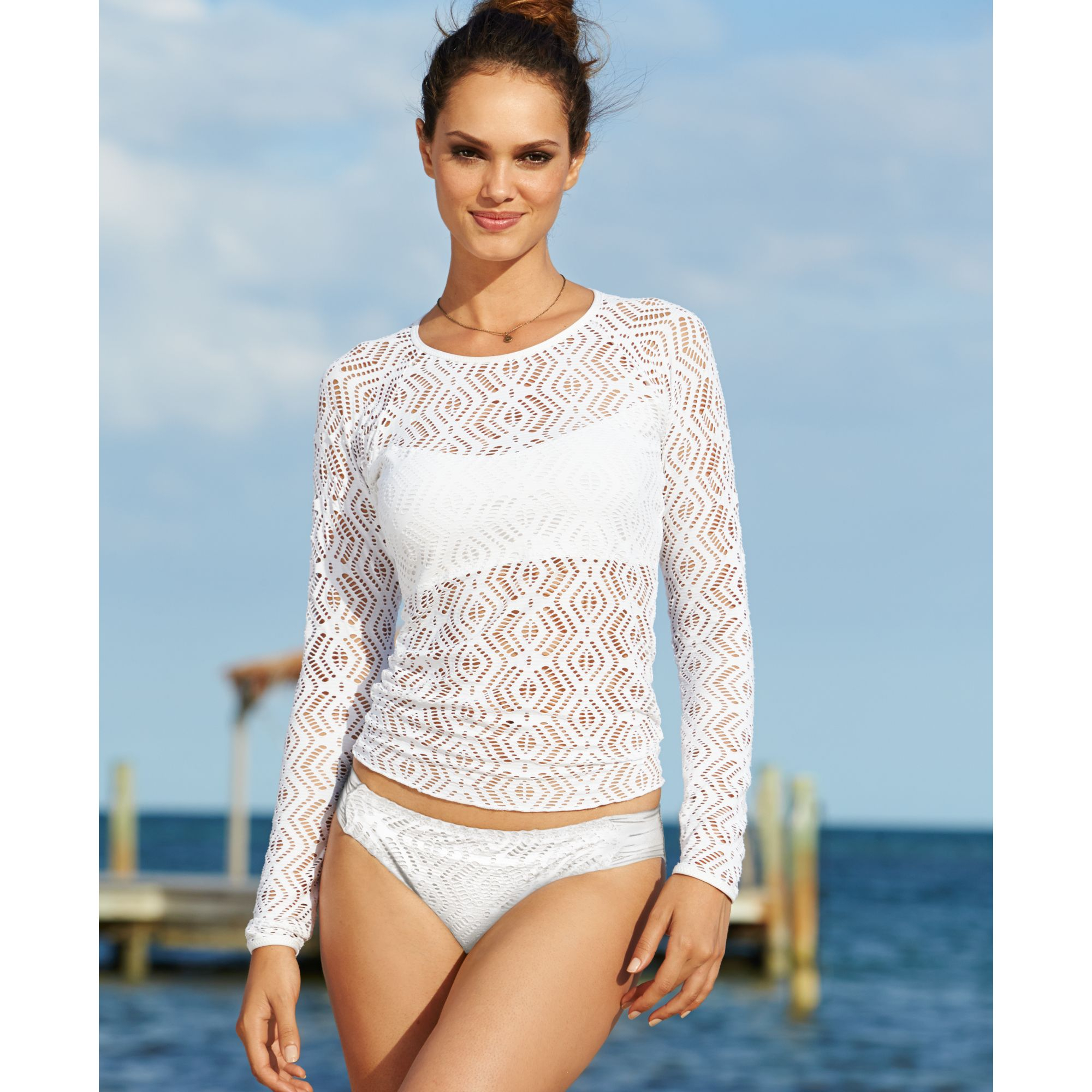 7de46c9aed46a Becca Longsleeve Crochet Top Cover Up in White - Lyst