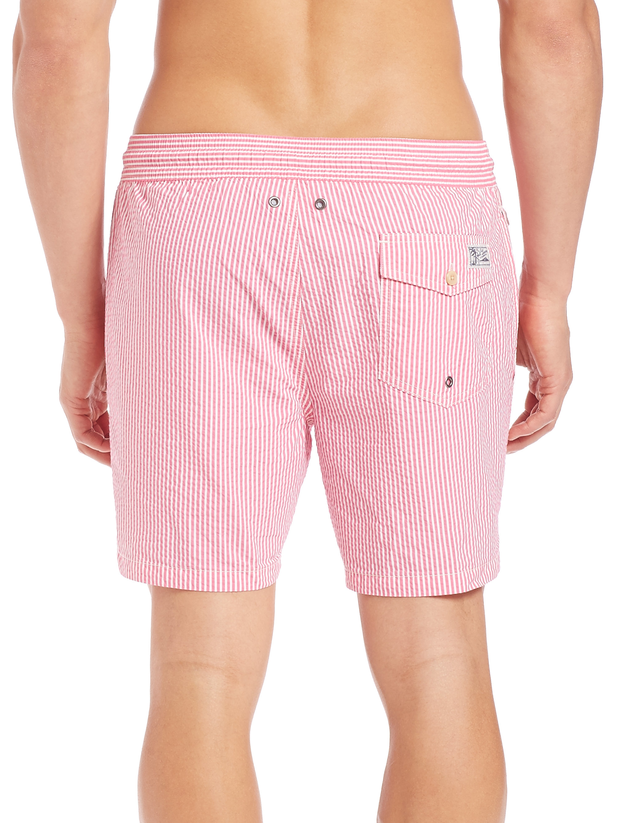 6f6ba7e9e Polo Ralph Lauren Seersucker Traveler Swim Shorts in Pink for Men - Lyst