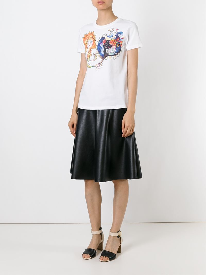 Lyst red valentino printed t shirt in white for Red valentino t shirt