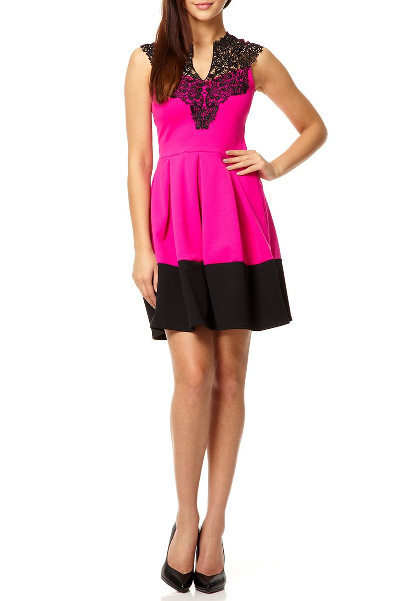 Pink lace neck dress