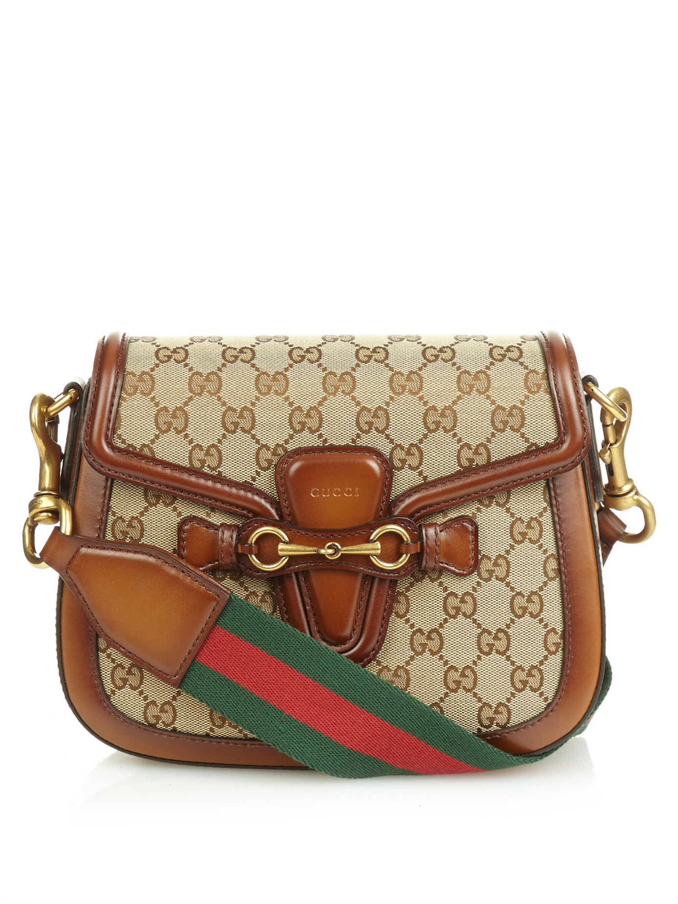 55787f7e463a Lyst - Gucci Lady Web Medium Shoulder Bag in Brown