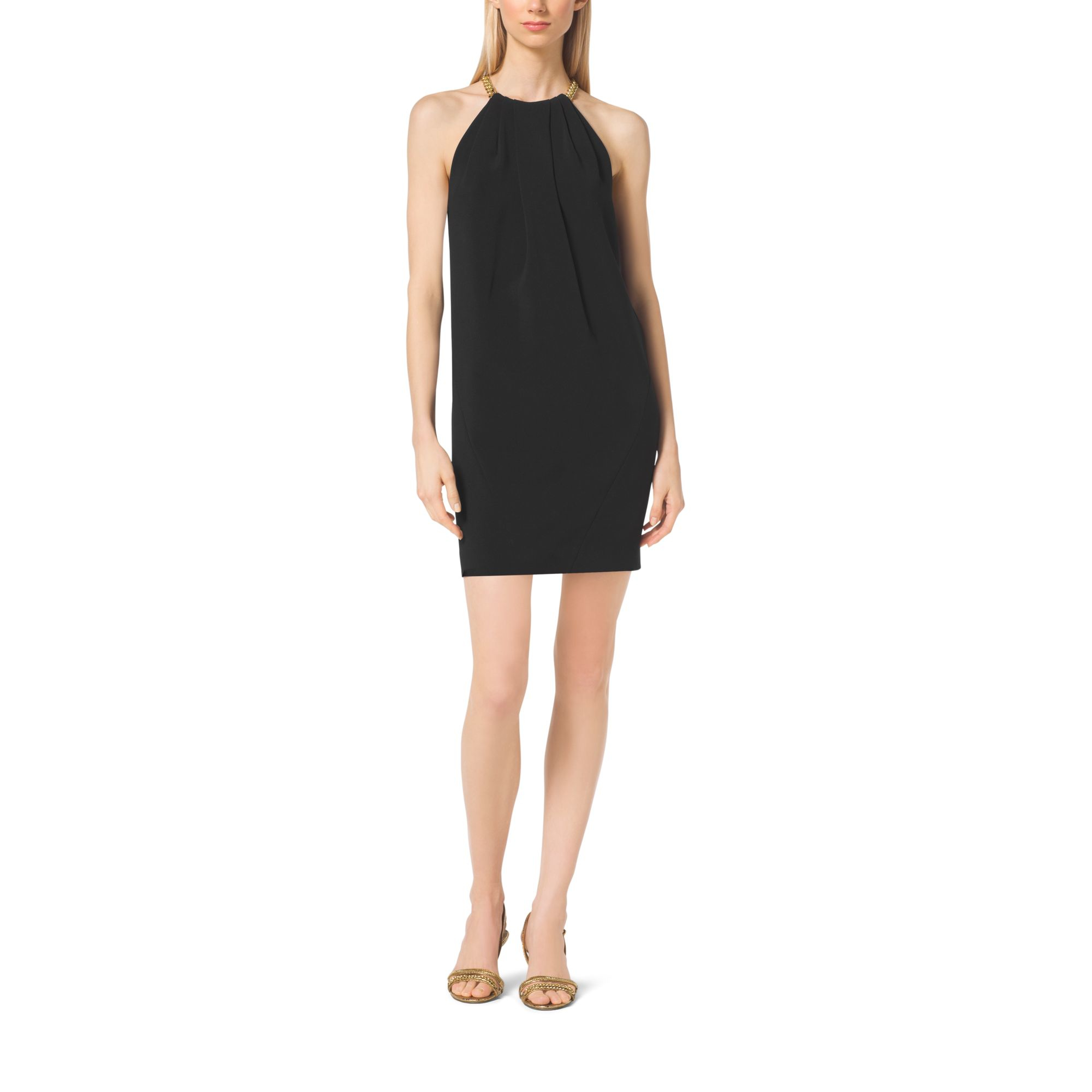 76bb099aaa Lyst - Michael Kors Chain-neck Halter Dress in Black