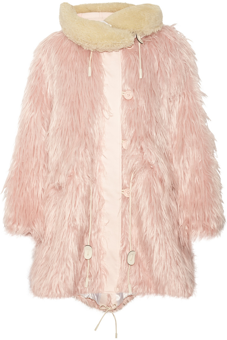 Coach Fluffy Shearling-Trimmed Faux Fur Coat in Pink | Lyst