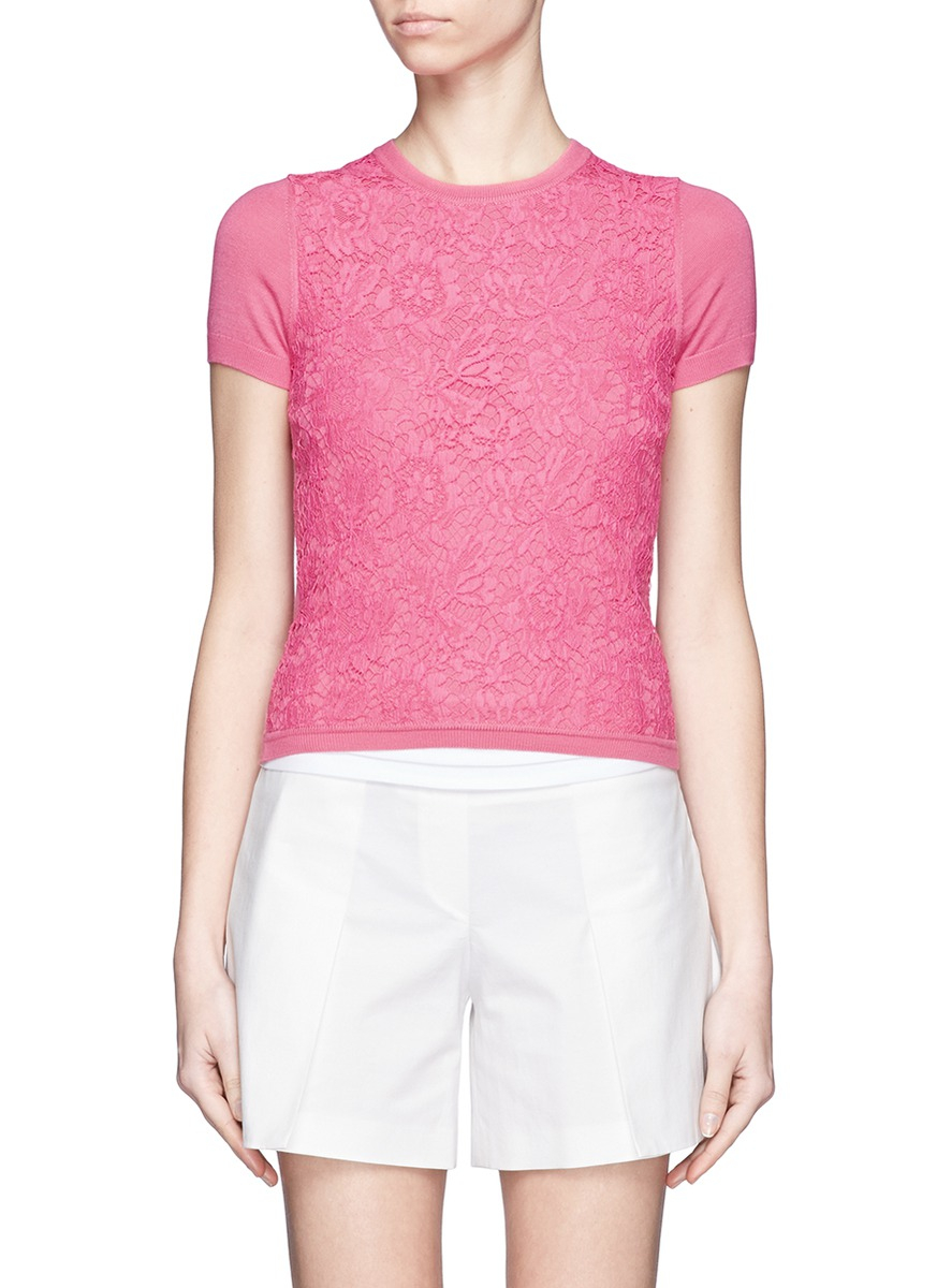 Valentino Lace Front Panel Shortsleeve Knit Top in Pink | Lyst