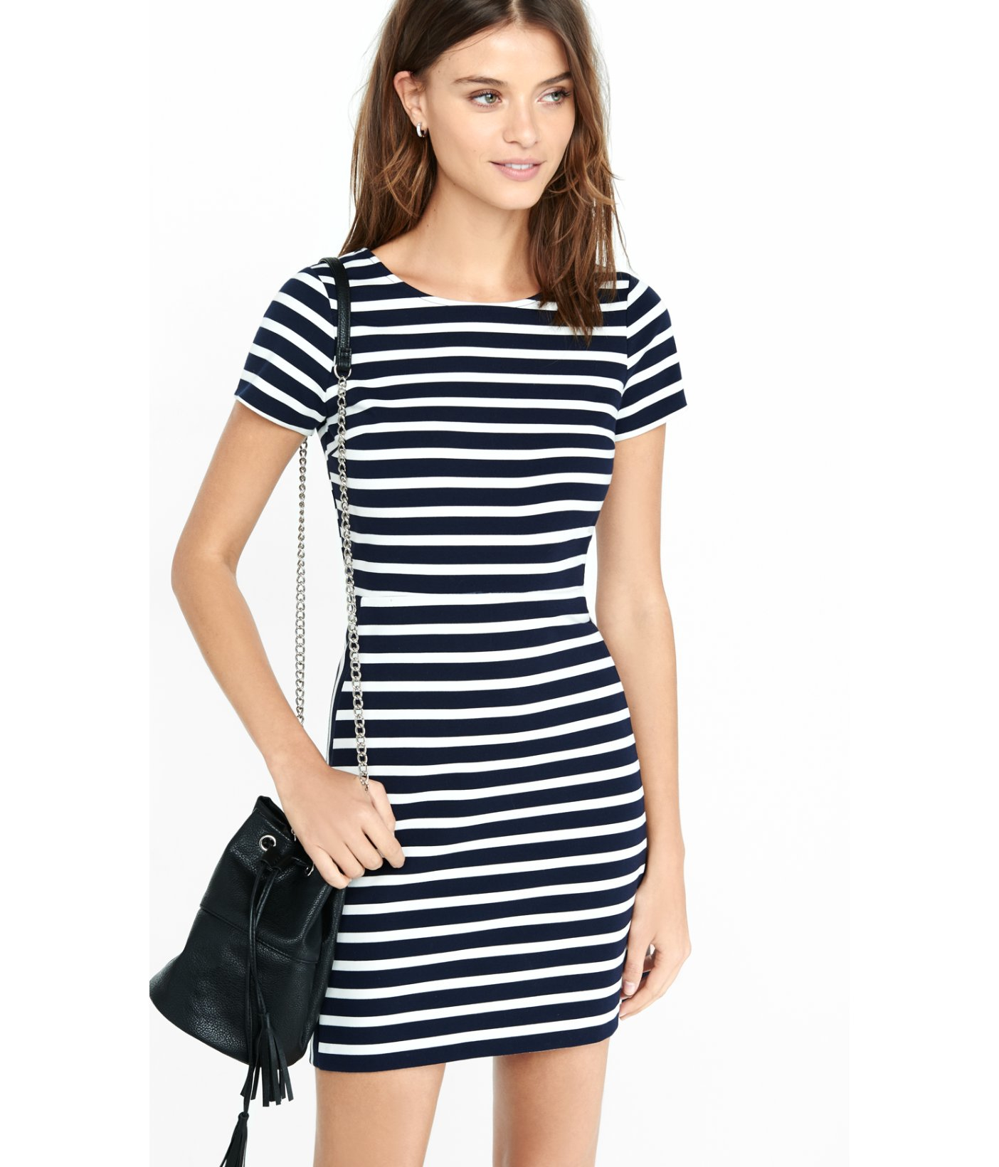 Lyst Express Navy And White Striped Aline Mini Dress In Black