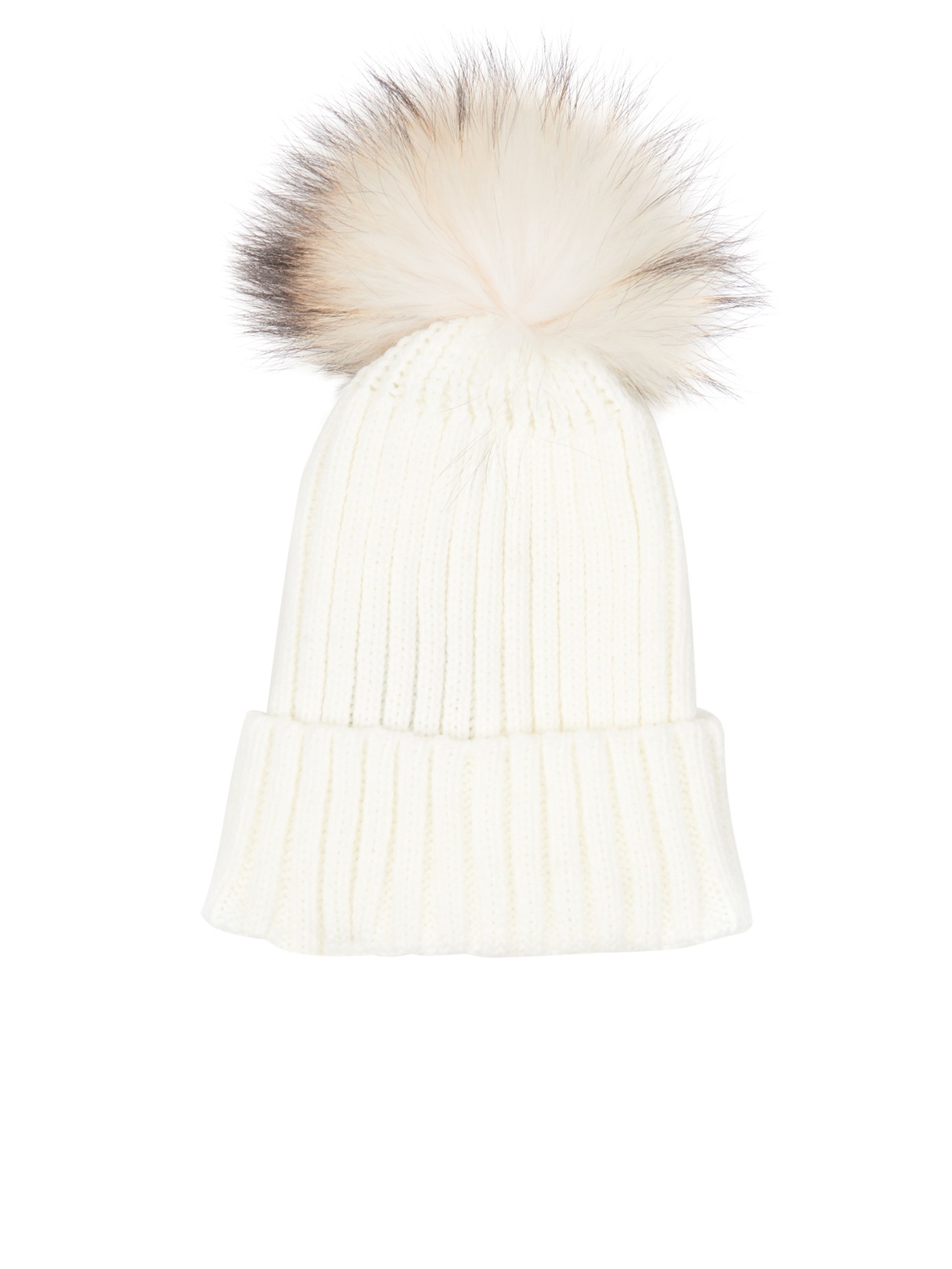 6fa69ed95da Lyst - Yves Salomon Fur-pompom Knit Beanie Hat in White
