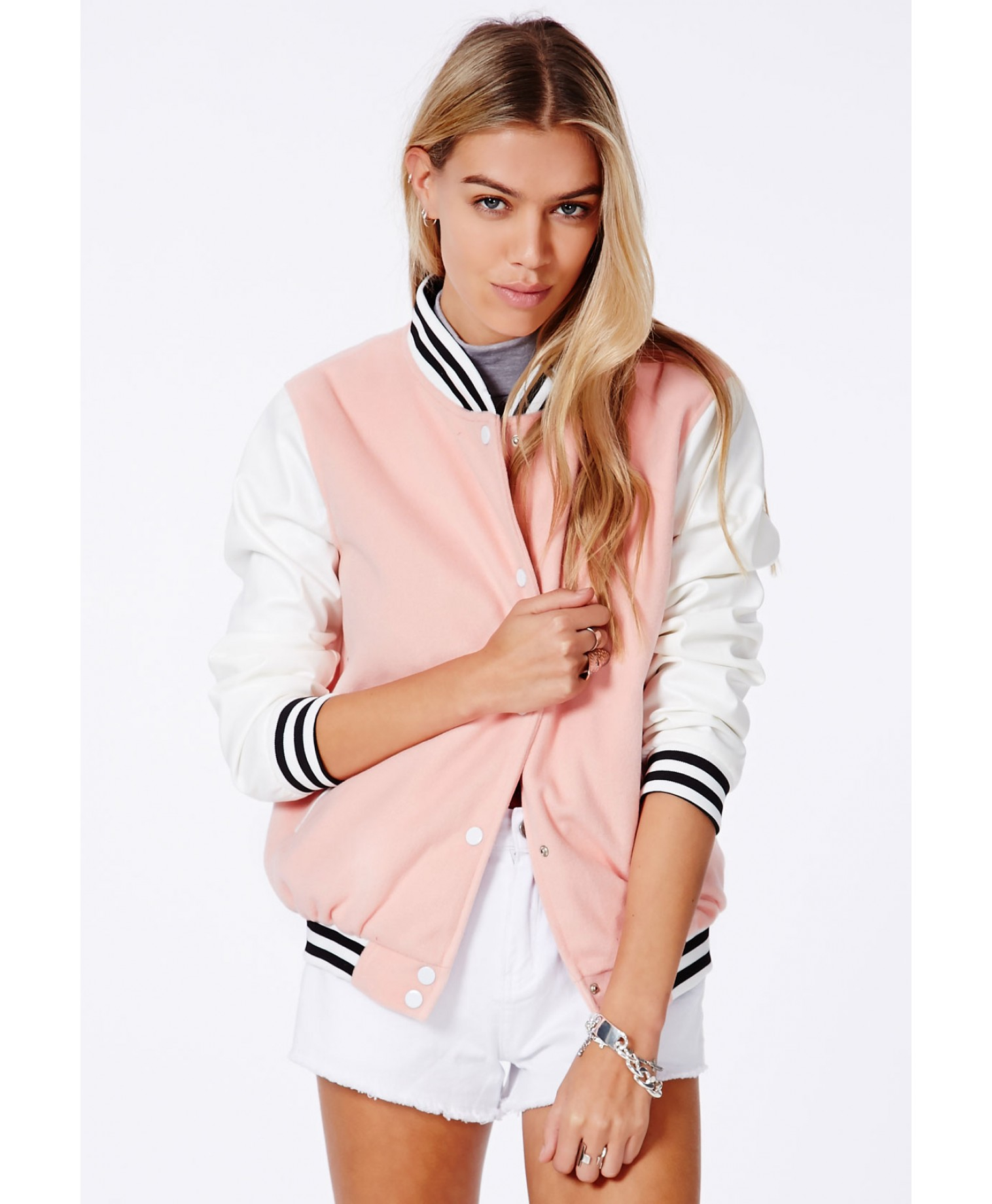 Missguided Lenica Bomber Jacket With Contrast Sleeves In Baby Pink ...