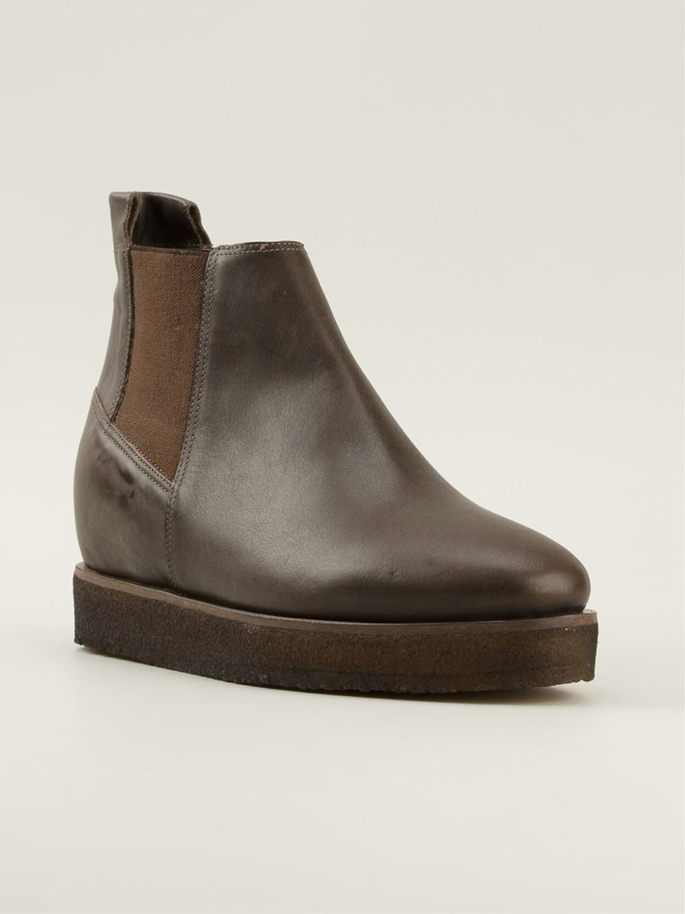 roberto carlo concealed wedge boots in brown lyst