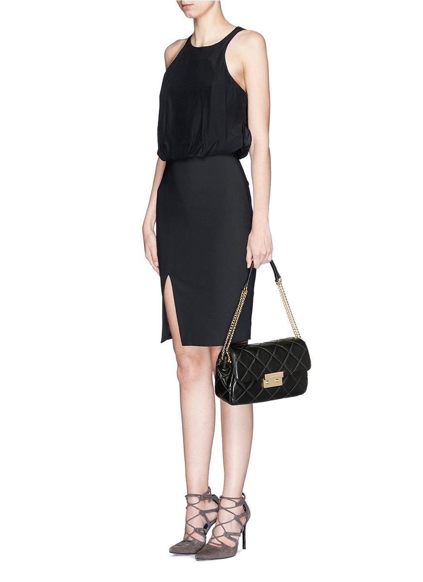 Lyst Michael Kors Sloan Quilted Shoulder Bag In Black