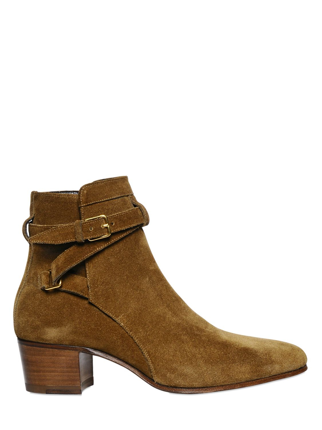 laurent 40mm suede ankle boots in lyst