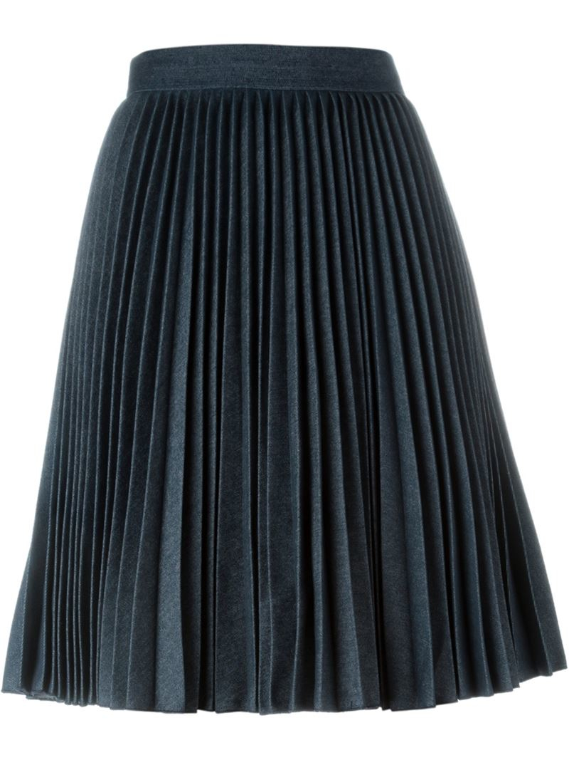 msgm high waist pleated skirt in blue save 50 lyst