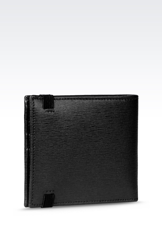 380158b466 Lyst - Emporio Armani Bi-Fold Wallet In Saffiano Calfskin With ...