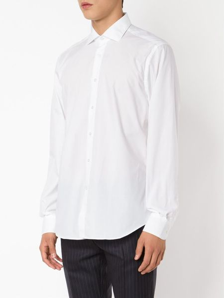Boglioli Cutaway Collar Shirt In White For Men