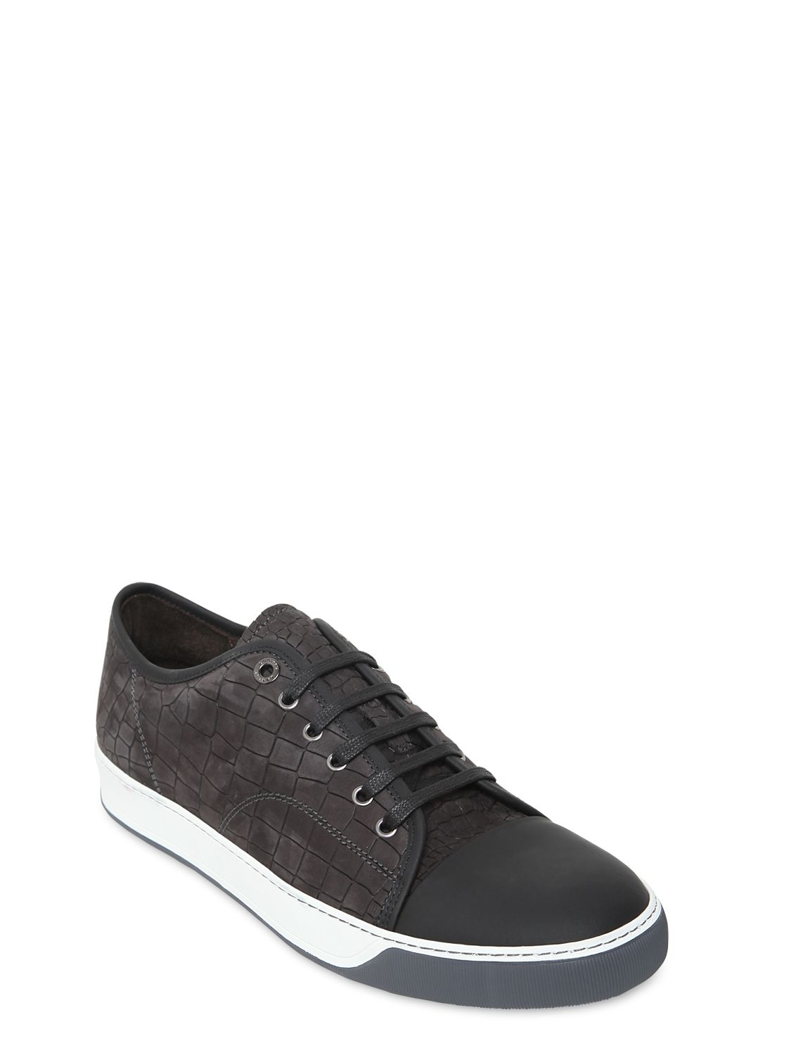 Mens Crocodile-Stamped Nubuck Sneakers Lanvin