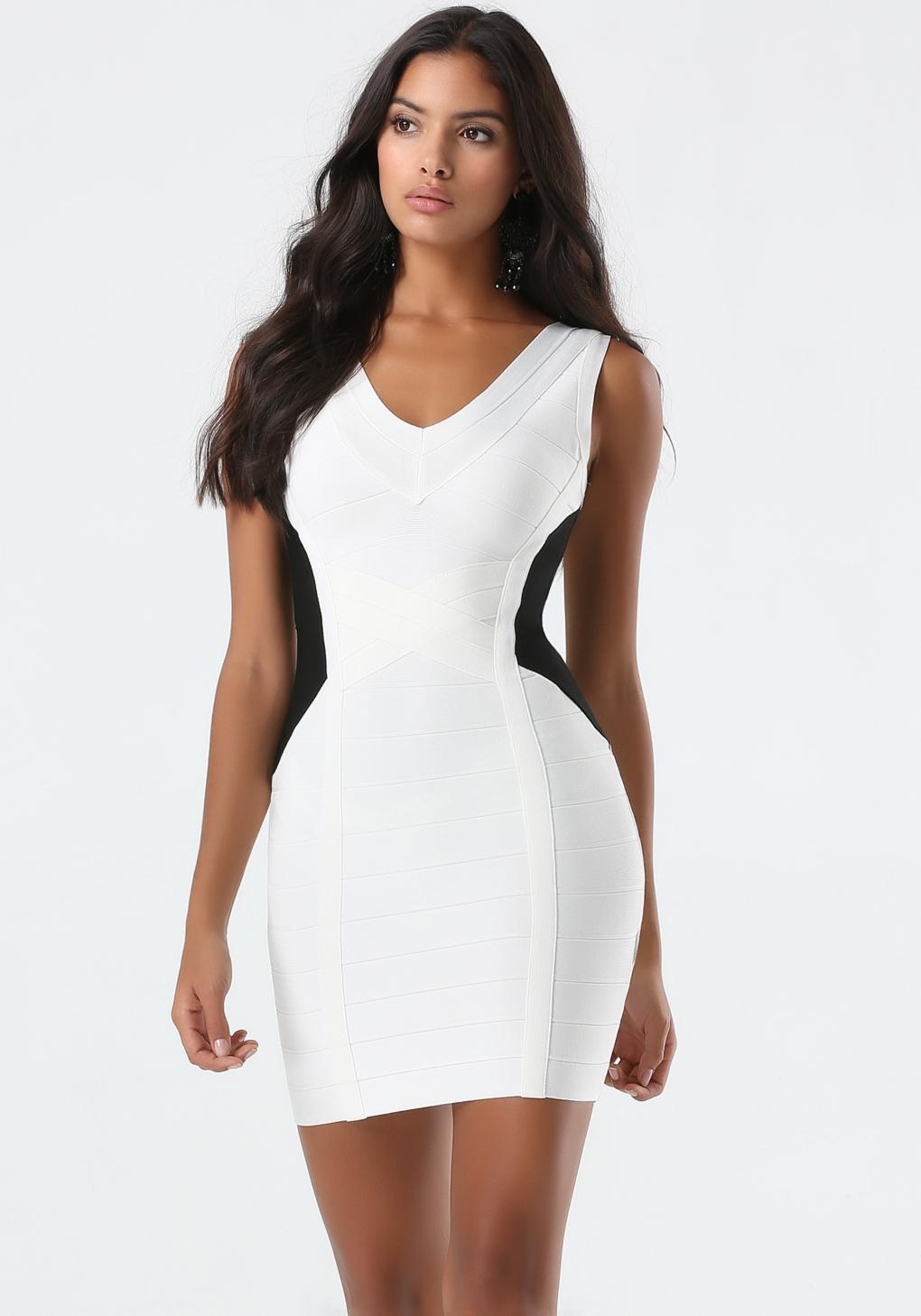 30b7b0d29eba29 Bebe Black & White Bandage Dress in White - Lyst