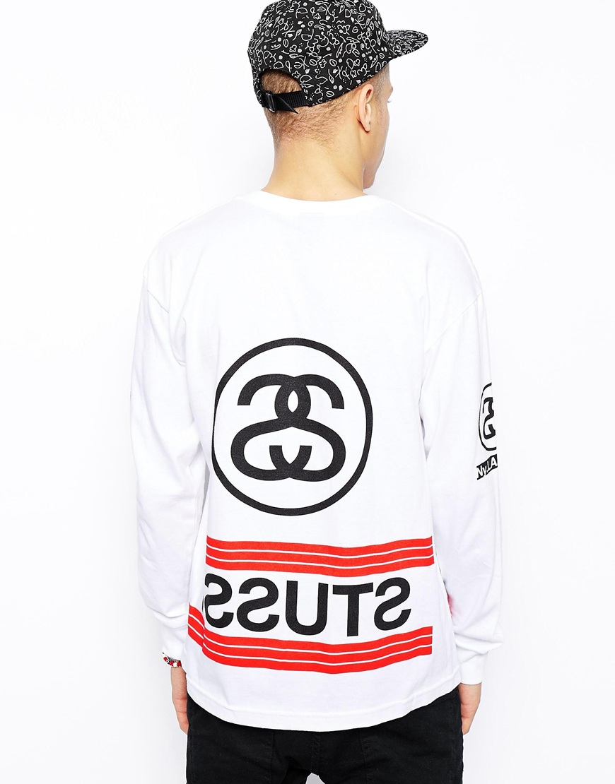 Stussy Long Sleeve Tshirt With Stripes In White For Men Lyst