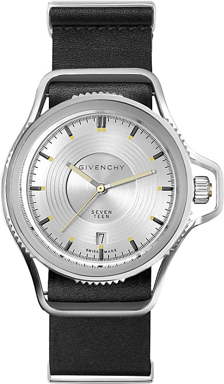 Givenchy gy100181s07 seventeen stainless steel and leather watch in metallic lyst for Givenchy watches