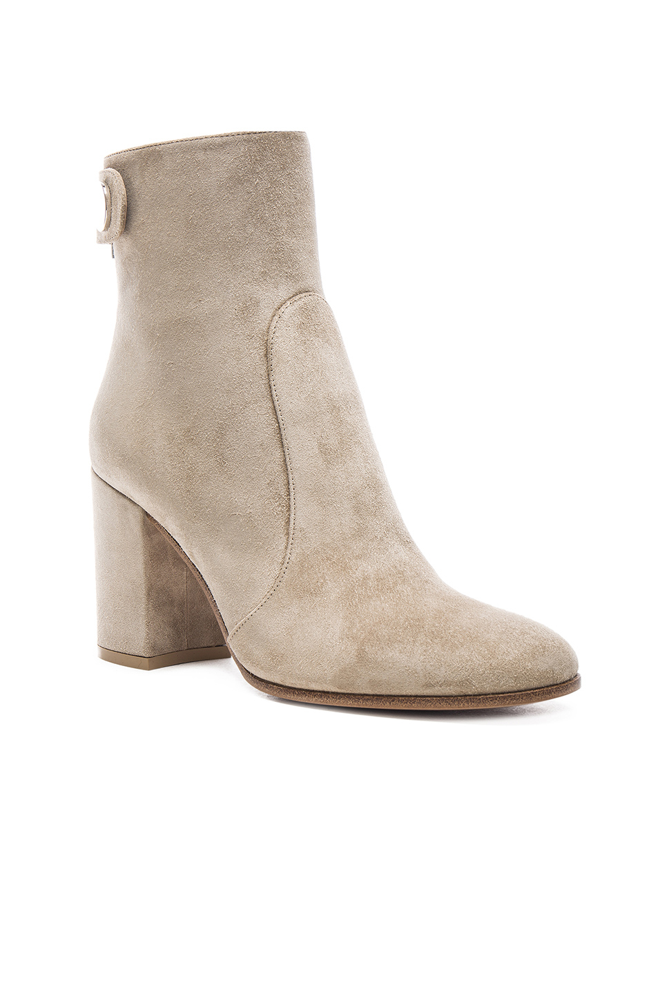 gianvito suede chunky heel boots in gray lyst