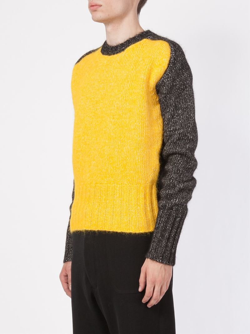 Ann demeulemeester Colour Block Sweater in Yellow for Men | Lyst