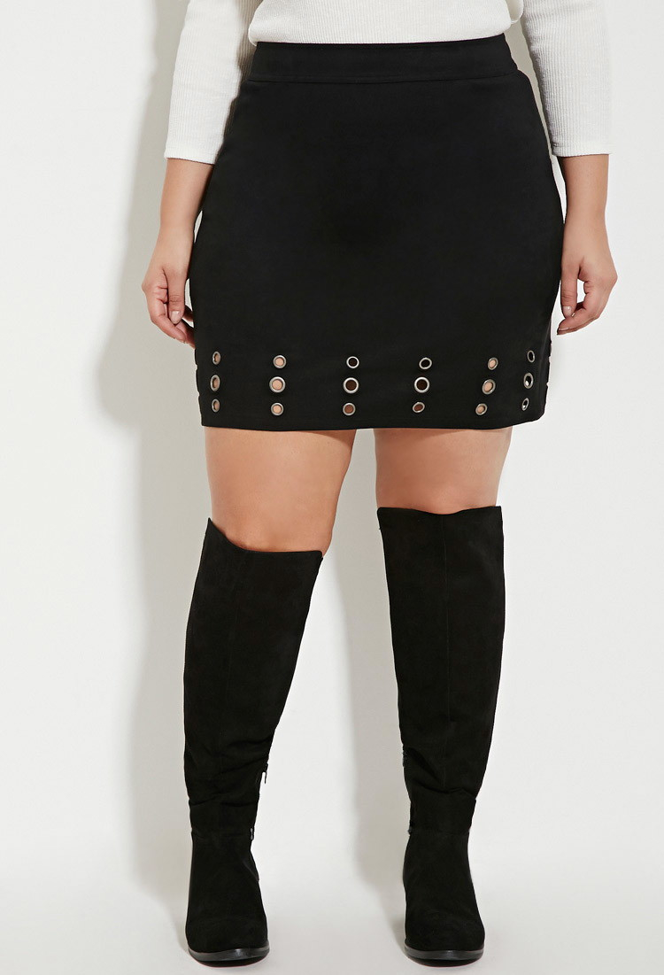 a56ca9f070e Lyst - Forever 21 Plus Size Faux Suede Grommet Skirt in Black
