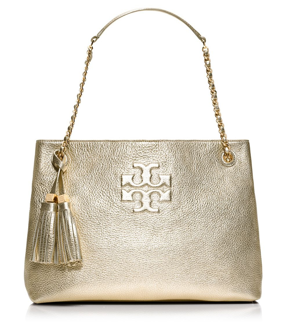 4efef16878a0 Lyst - Tory Burch Thea Metallic Chain Shoulder Slouchy Tote in Metallic