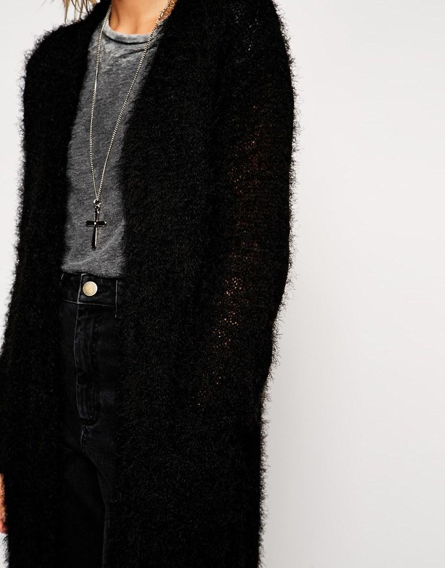 Asos Longline Cardigan In Fluffy Yarn in Natural | Lyst