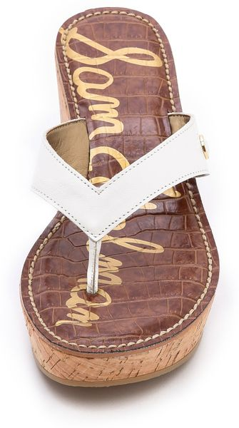 Sam Edelman Romy Wedge Flip Flops In White Snow White Lyst