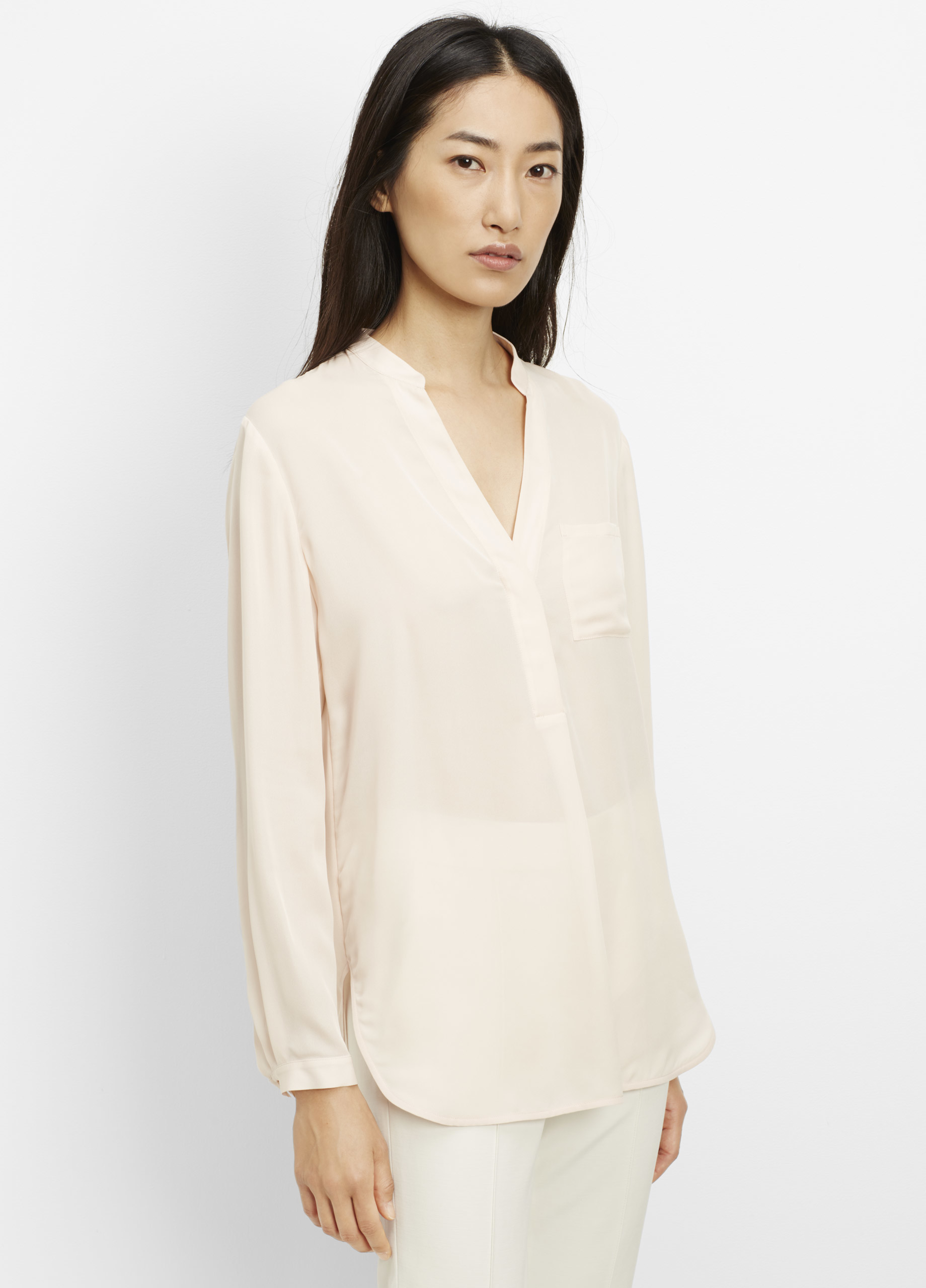 Vince Silk Long Sleeve Popover Blouse in Natural