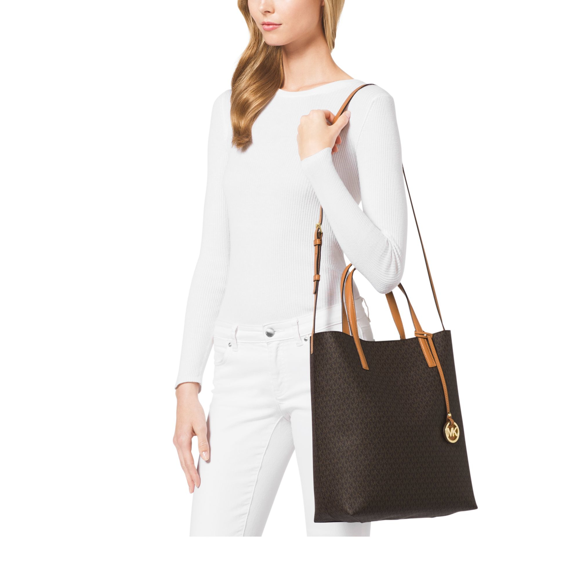 Lyst - Michael Kors Hayley Large Tote in Brown 1989a5ff39e85