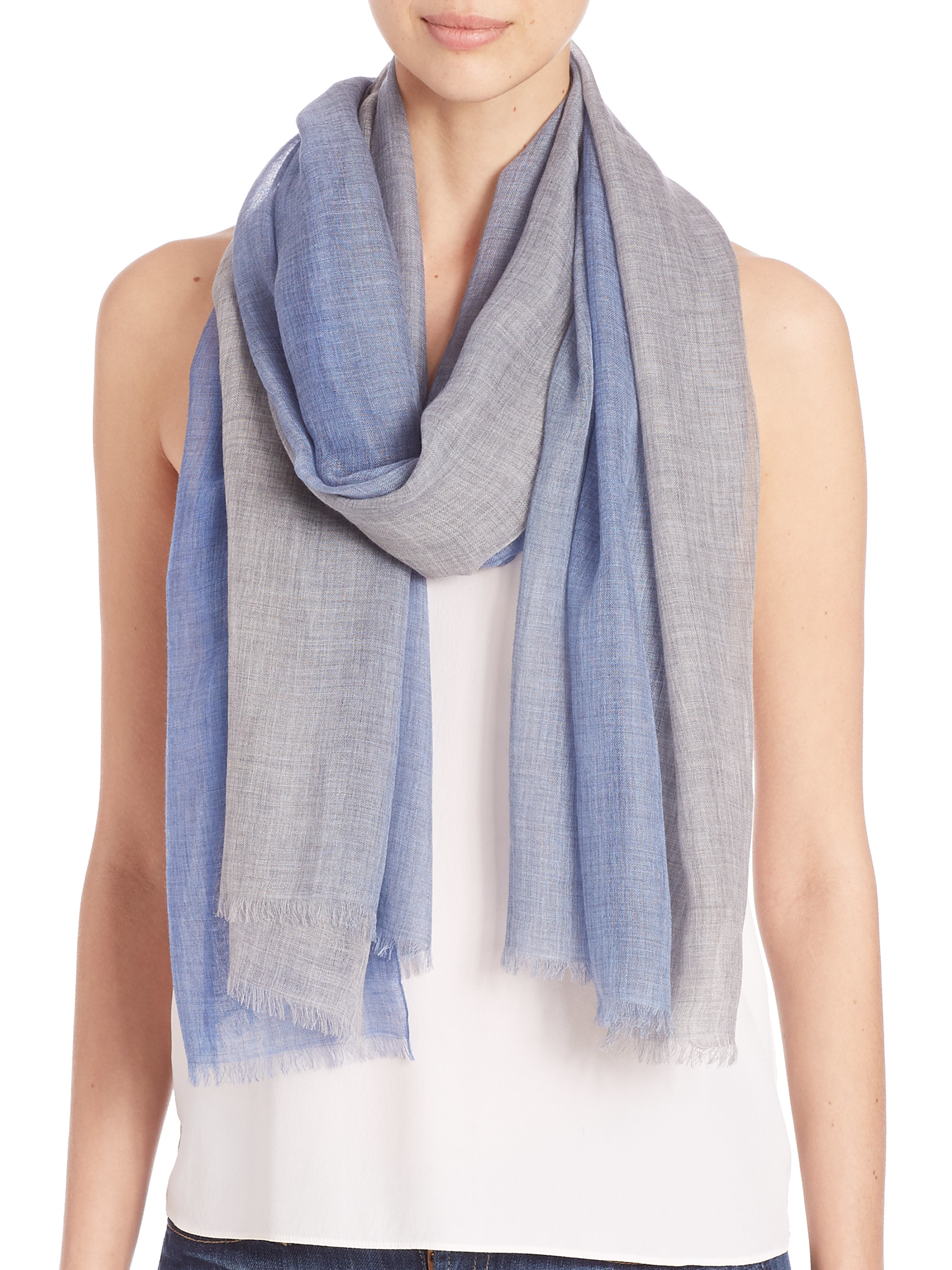 bajra leno ombre scarf in blue lyst