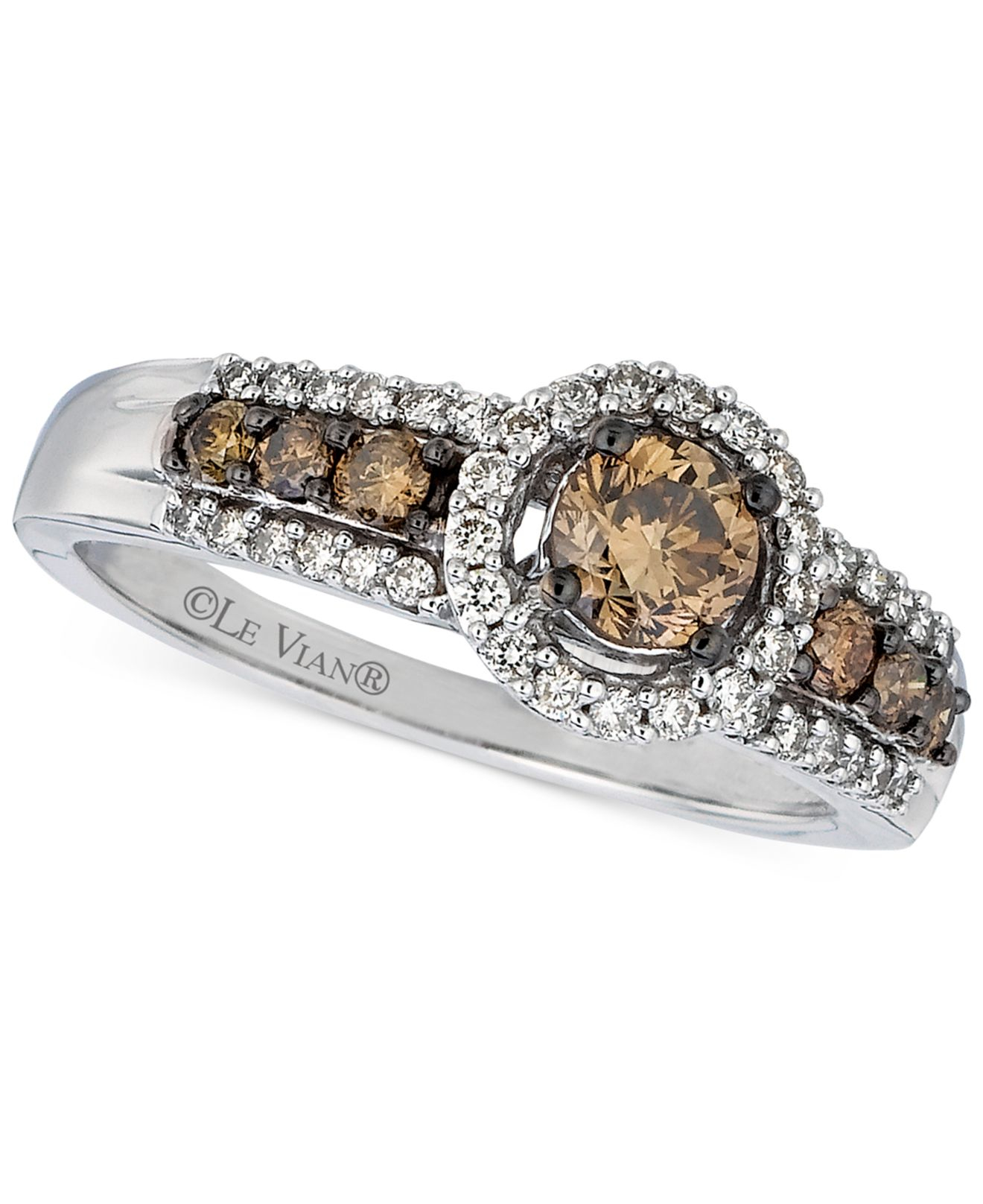 Le vian Chocolate And White Diamond Deco Ring (5/8 Ct. T.w.) In ...