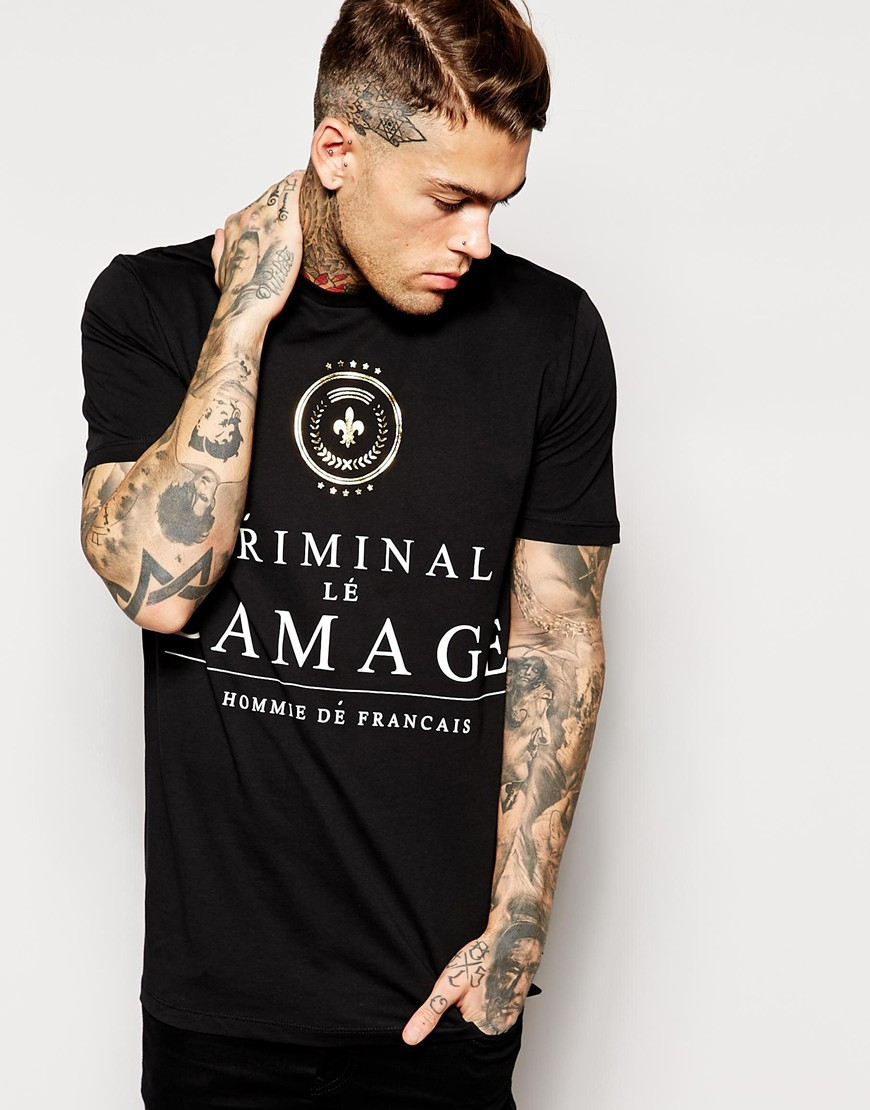 Criminal Damage T Shirt With Wine Label In Black For Men