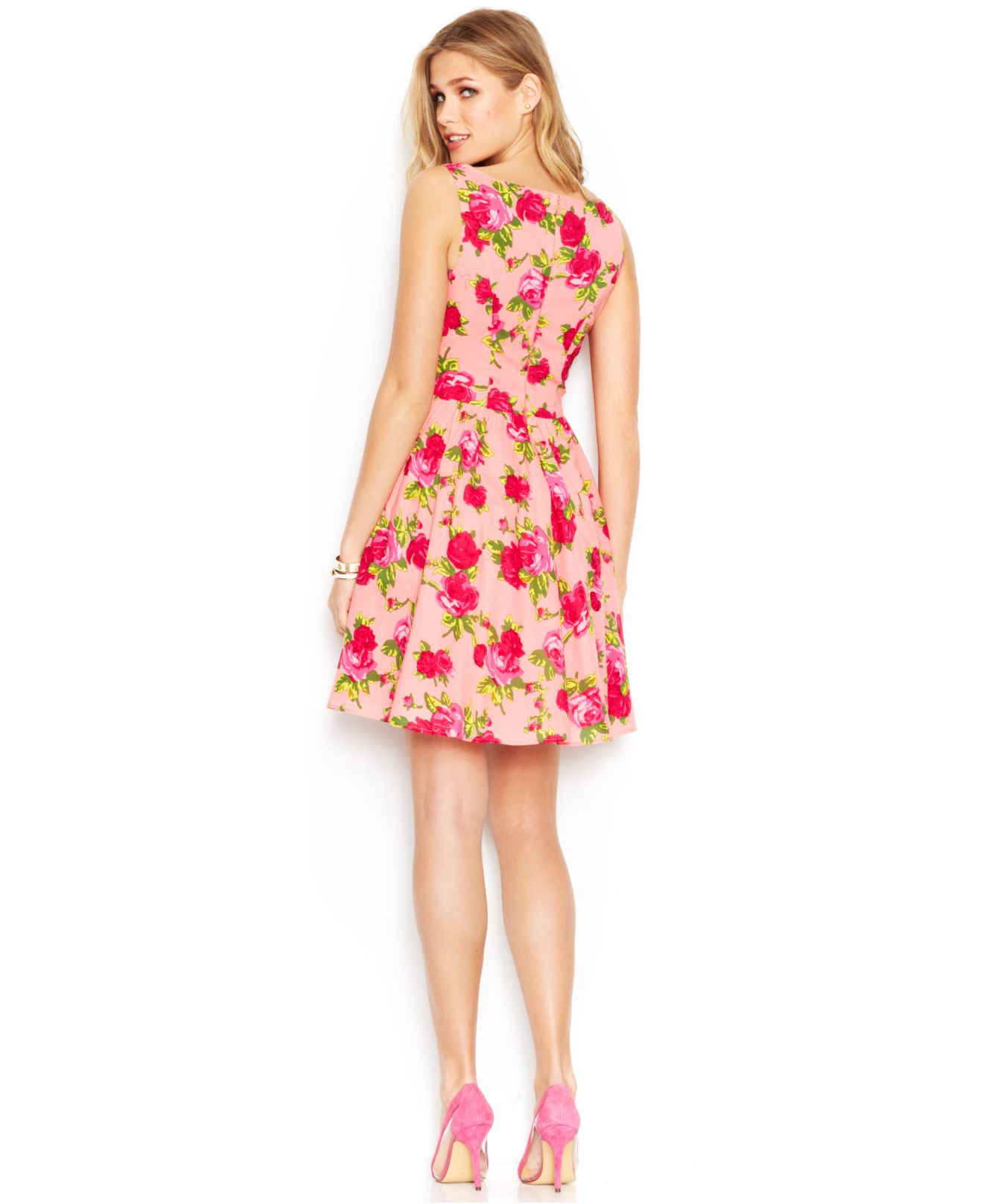Lyst Betsey Johnson Sleeveless Rose Print Dress In Pink