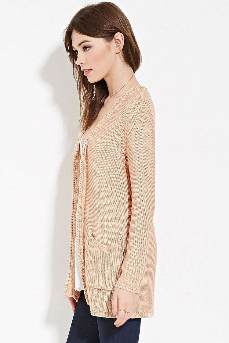 Forever 21 Longline Ribbed Cardigan in Pink | Lyst