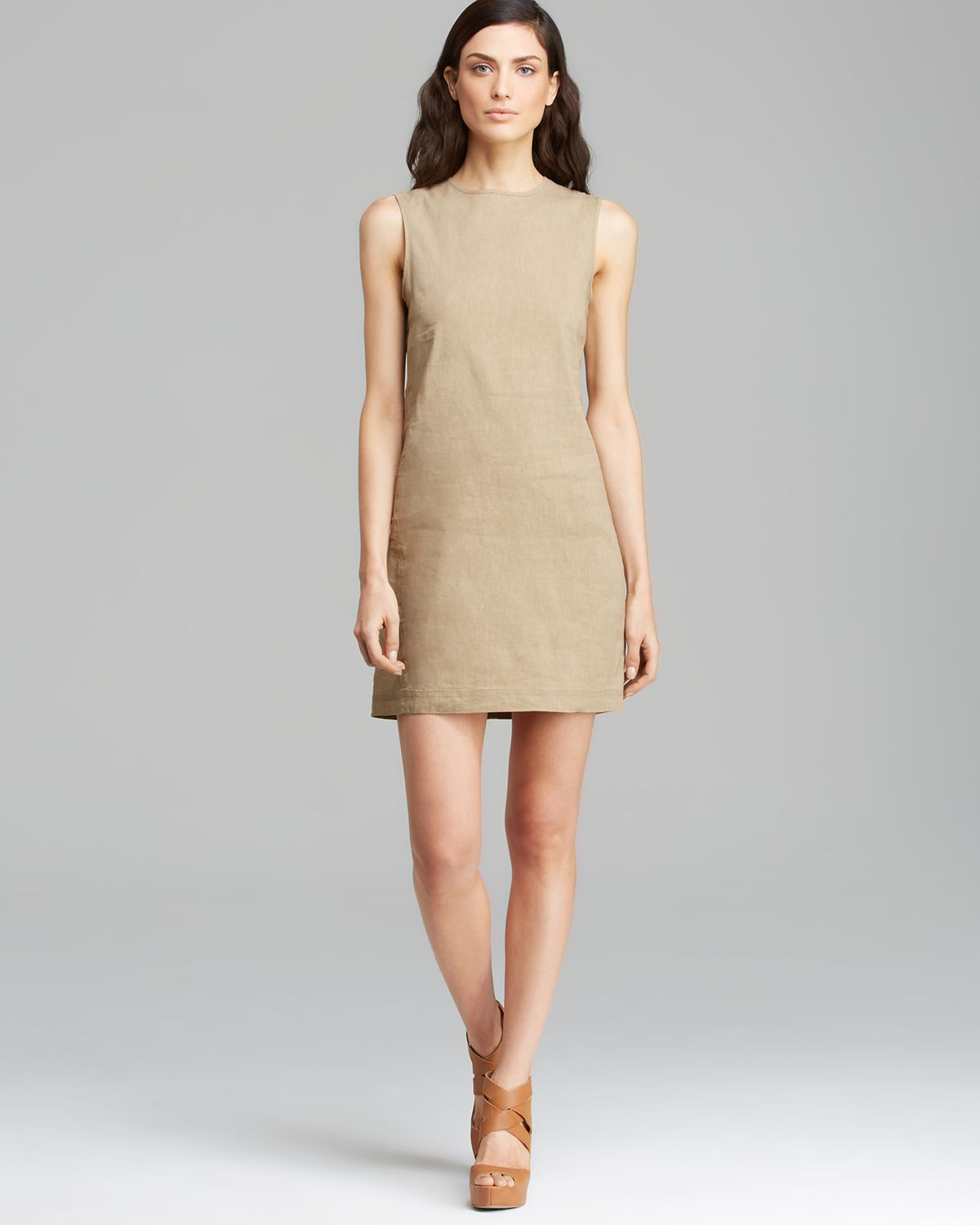 b7ae14c38e65 Lyst - Theory Dress Adraya Crunch in Natural
