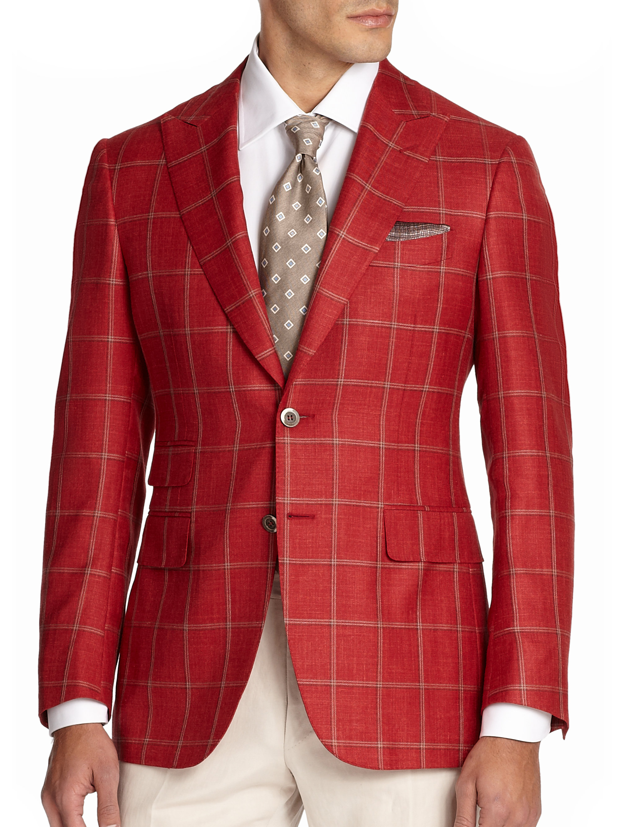 lyst canali windowpane sportcoat in red for men
