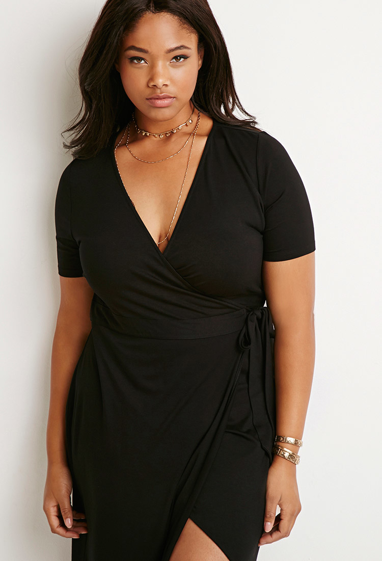 55fe1f2ebd Forever 21 Maxi Wrap Dress in Black - Lyst