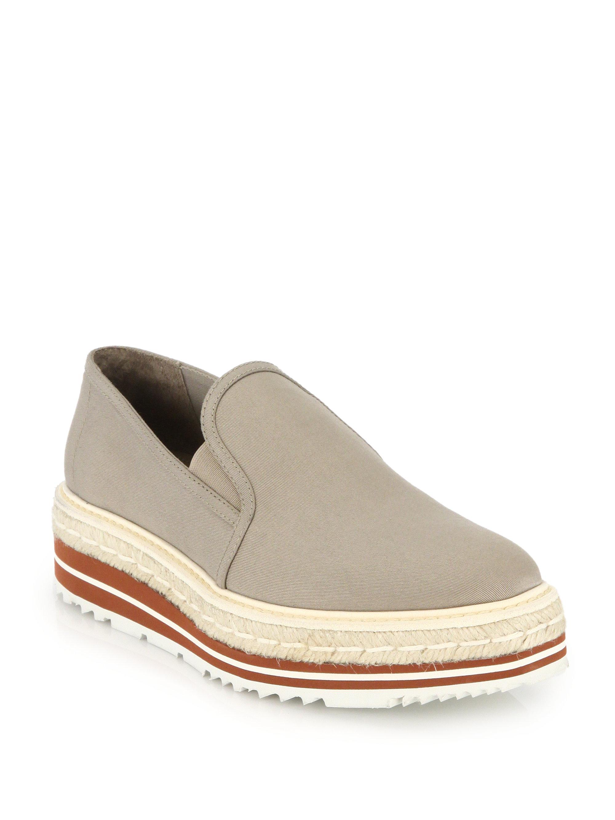 prada handbag tote - Prada Platform Espadrille Canvas Slip-on Sneakers in Beige | Lyst