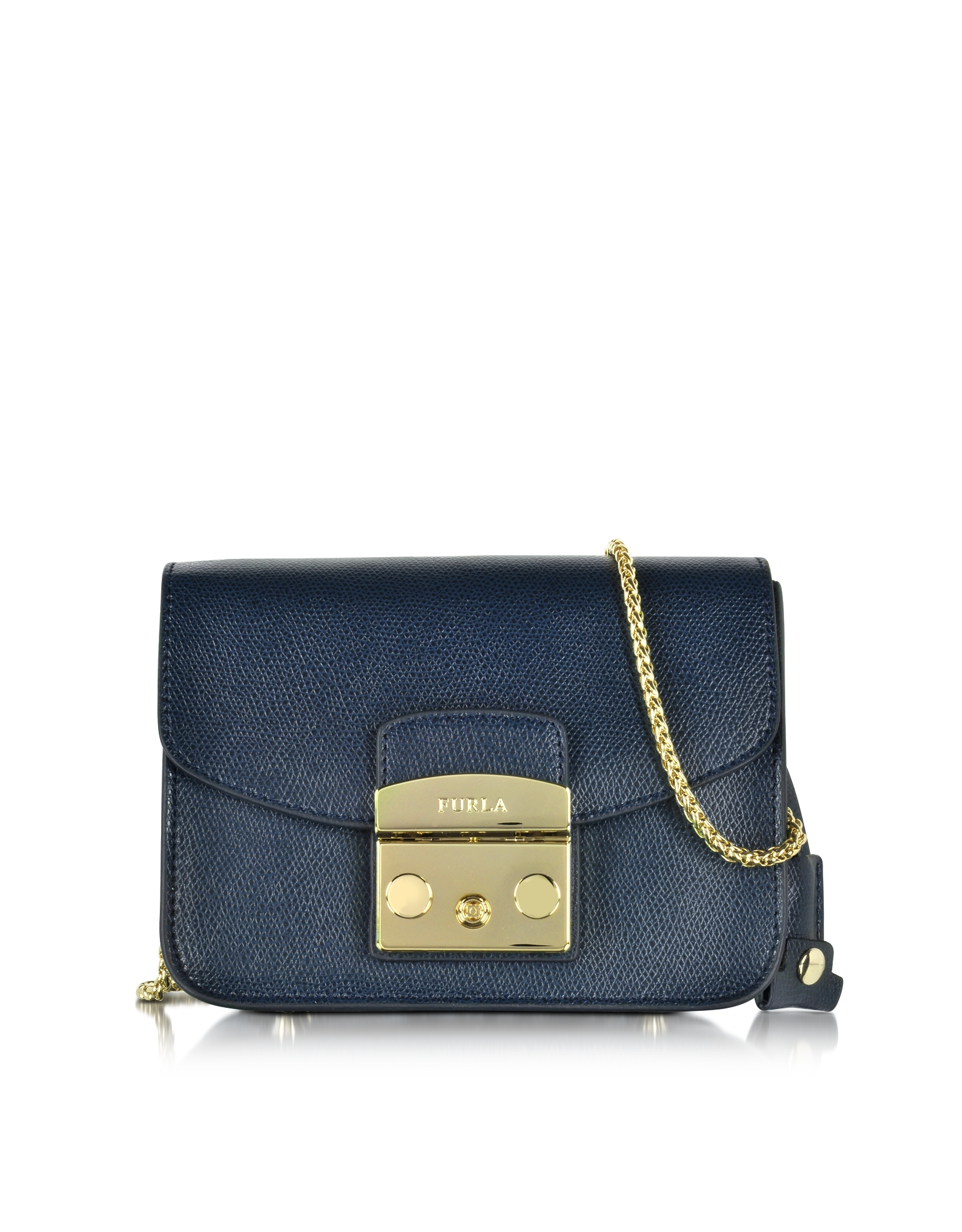 Furla Metropolis Navy Leather Shoulder Bag in Blue | Lyst