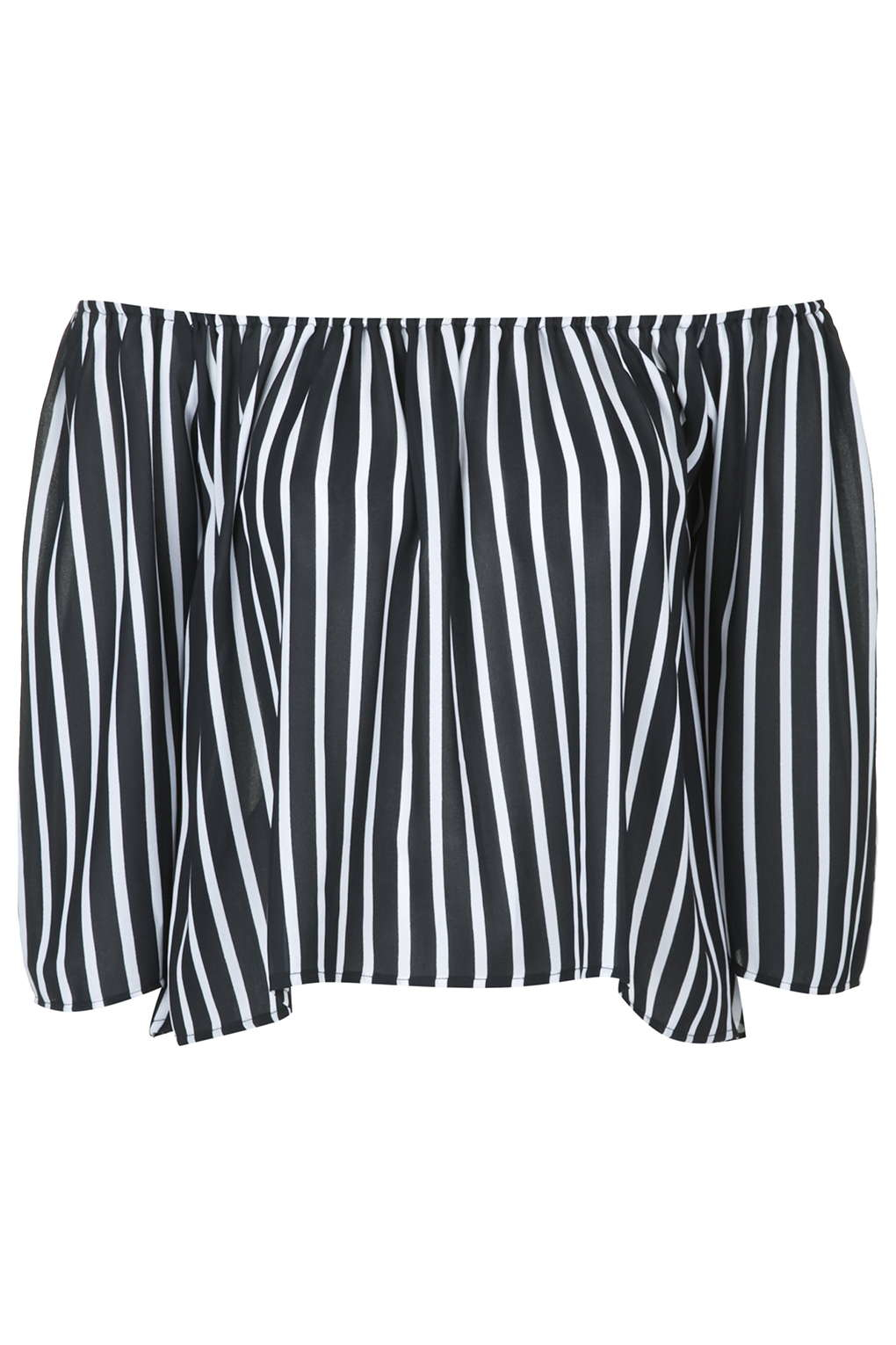 28f9c49749f TOPSHOP Sally Pinstripe Bardot Top By Absence Of Colour in Black - Lyst