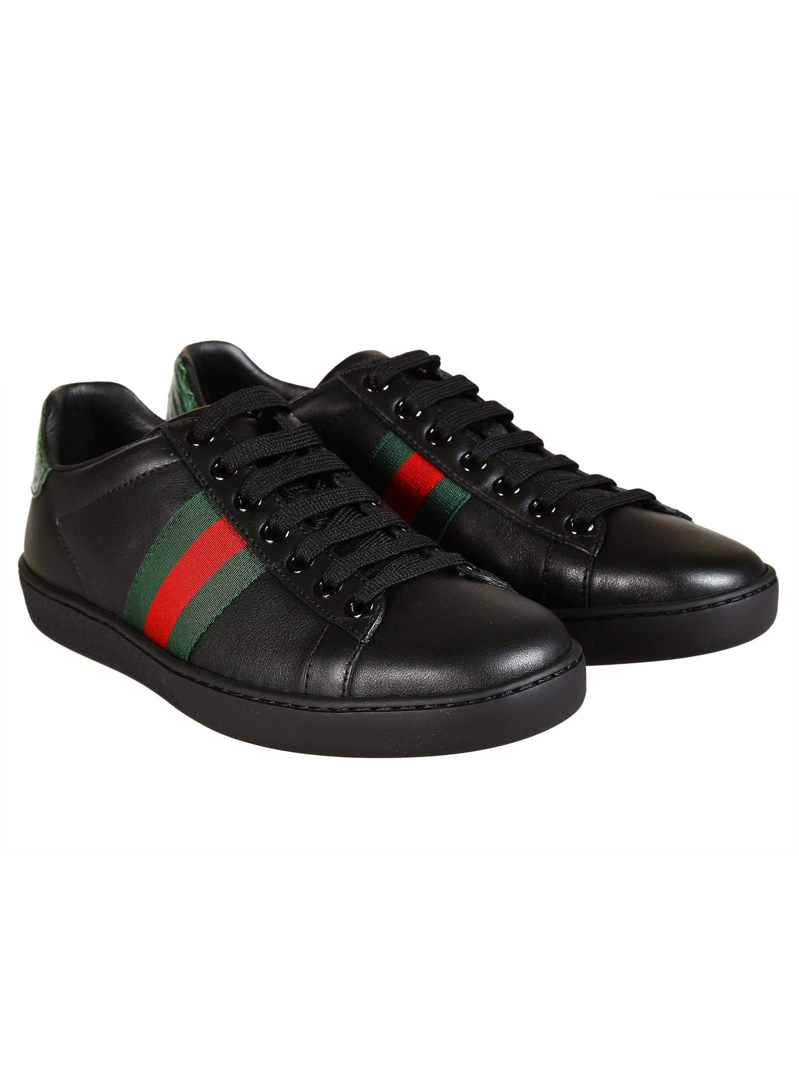 gucci leather sneakers in black lyst