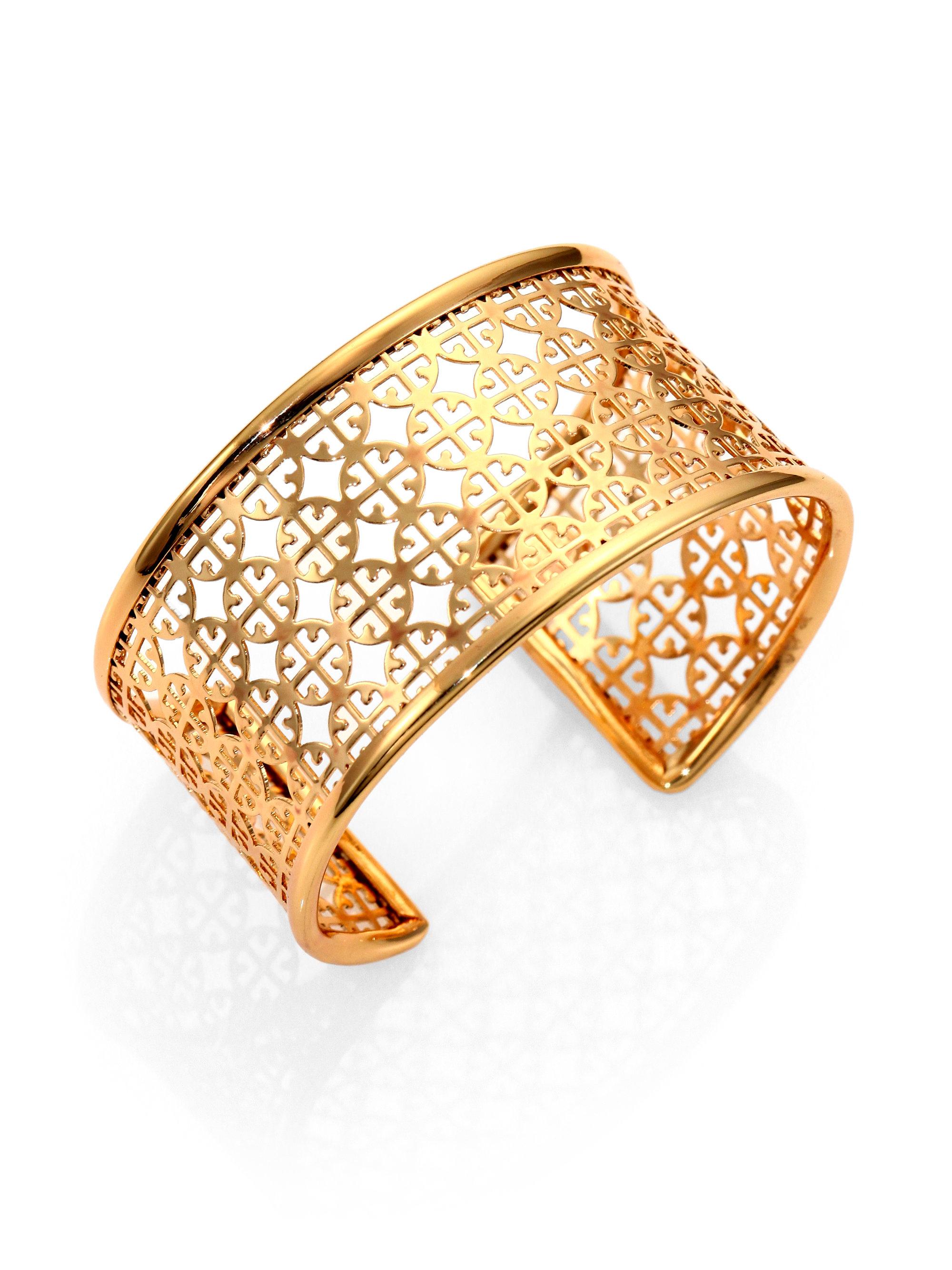 Lyst Tory Burch Perforated Logo Cuff Bracelet In Metallic