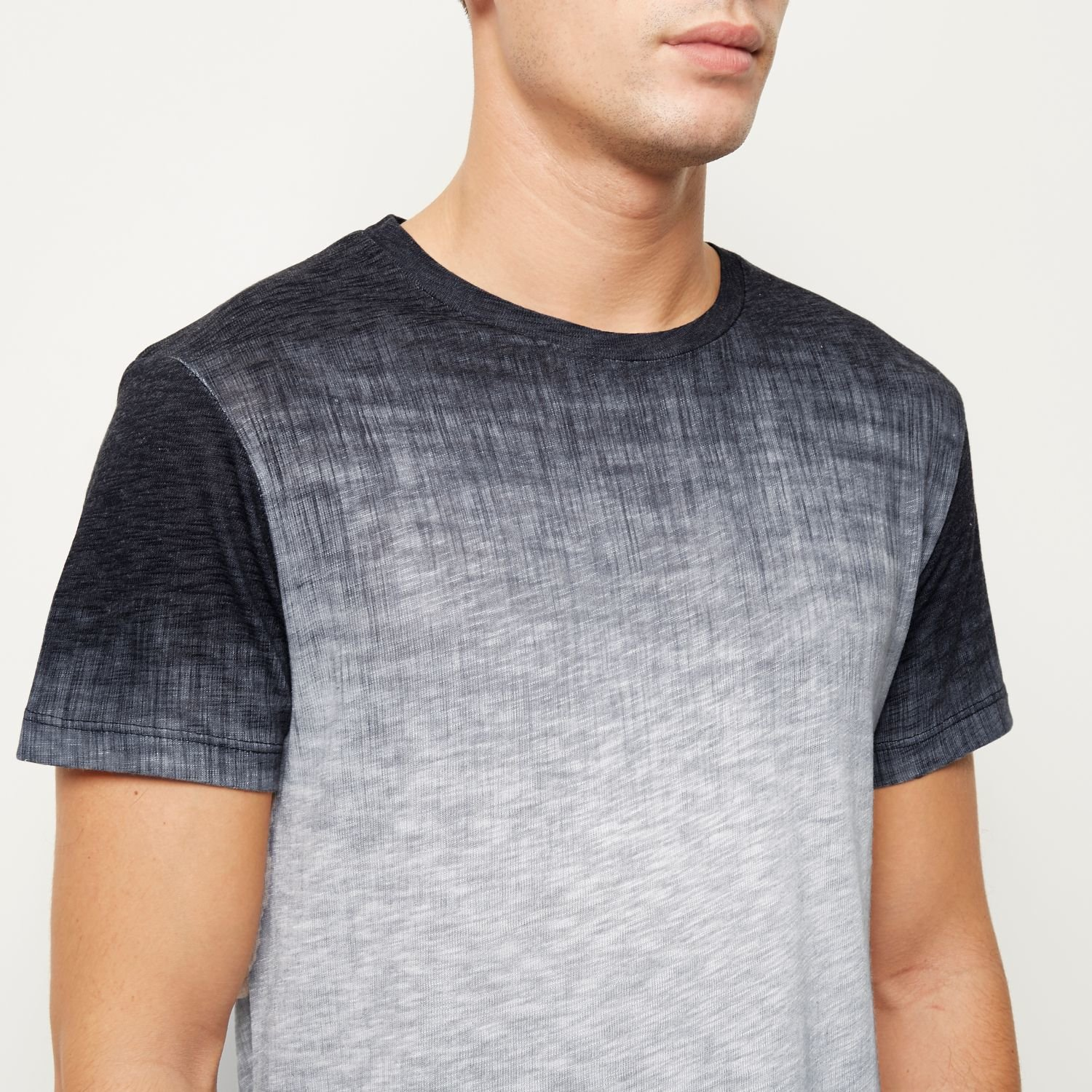 River island dark grey textured faded t shirt in gray for for Faded color t shirts