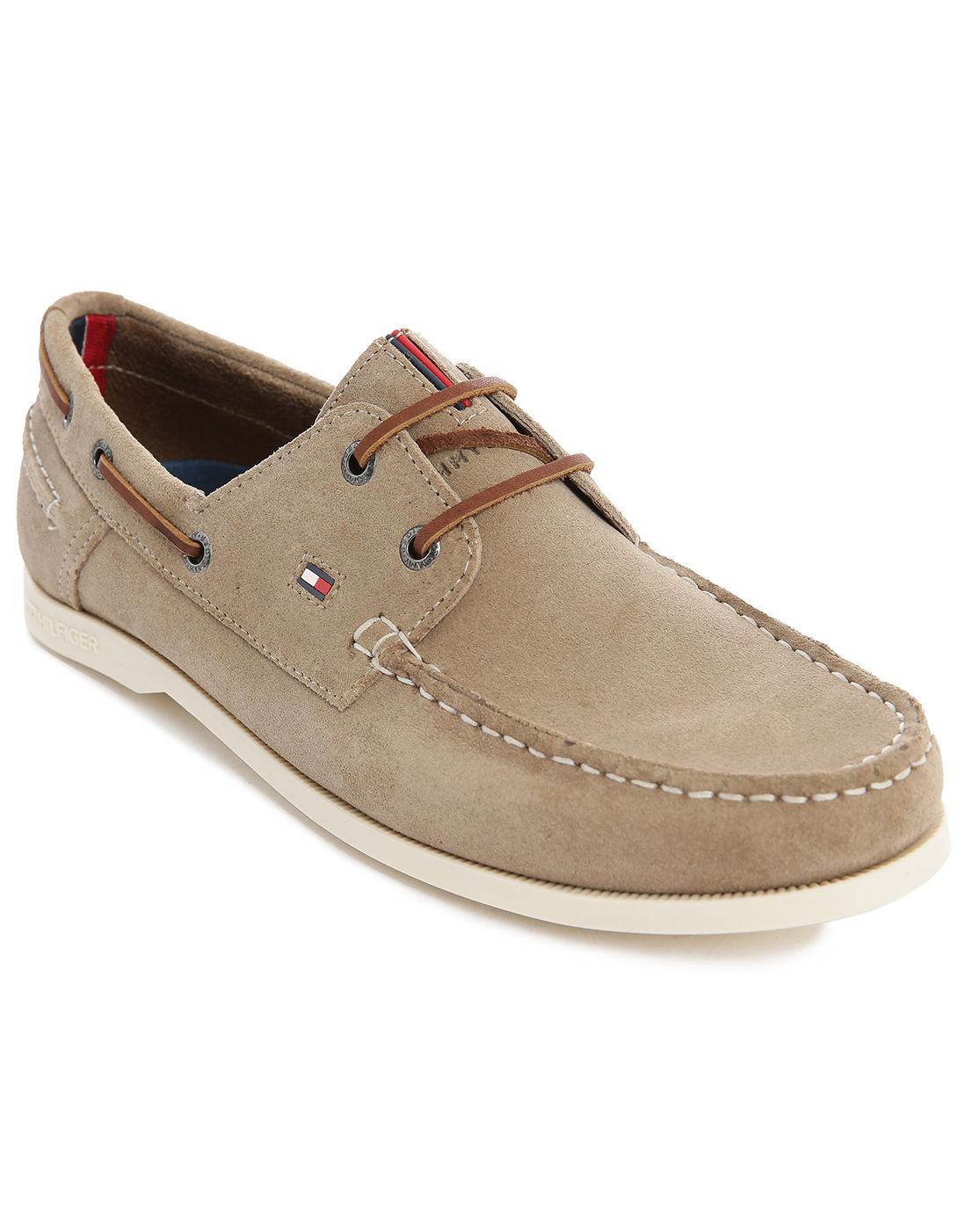 hilfiger beige suede chino boat shoes in beige for