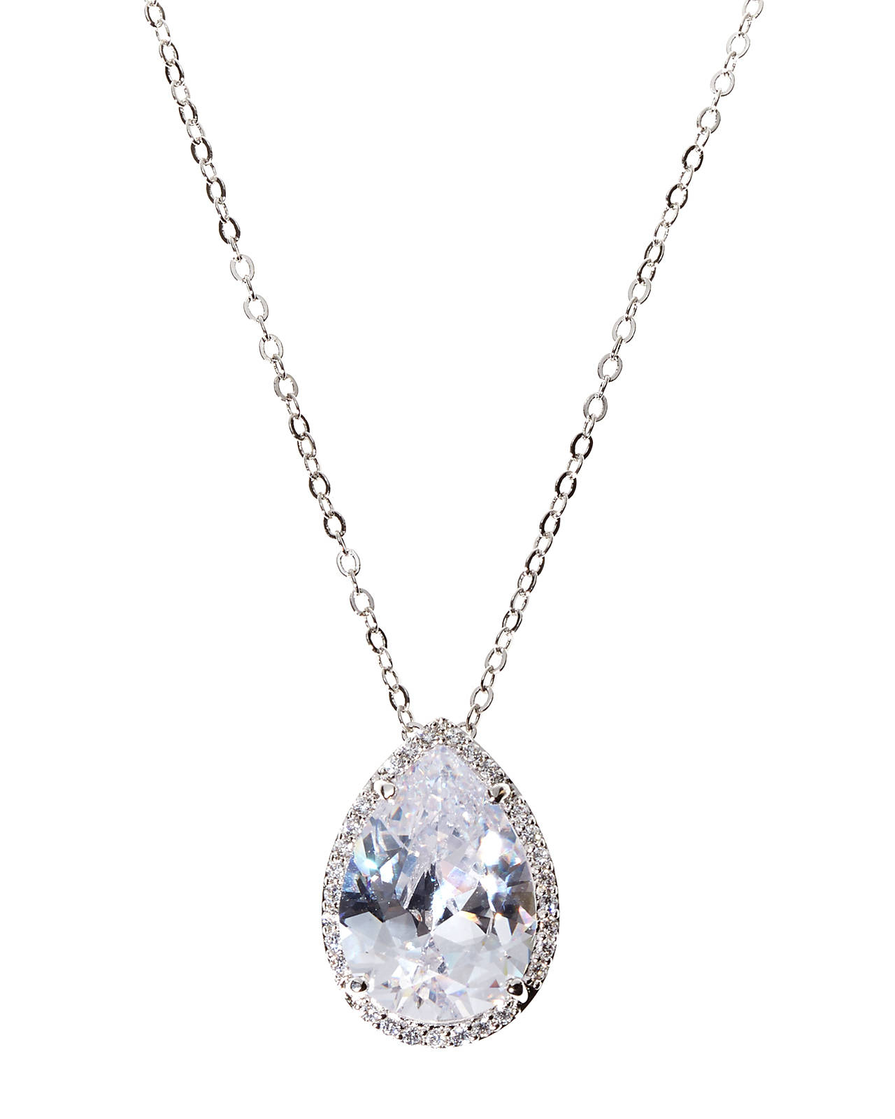 platinum bale diamond double setting shaped solitaire shape pear necklace pendant in