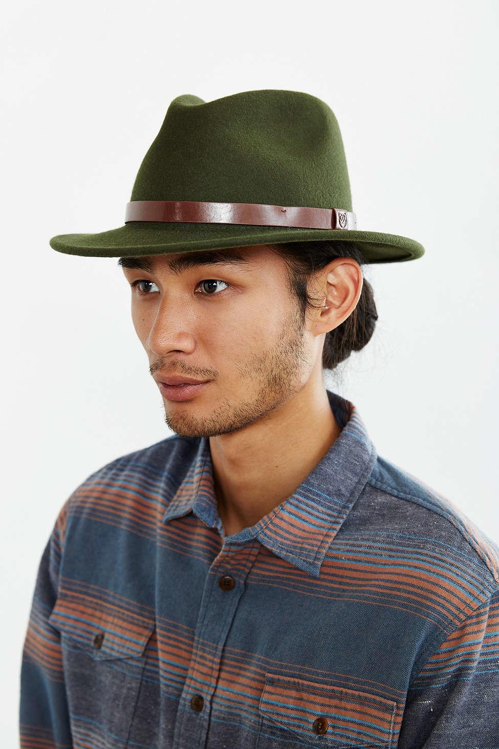 b3ea4db0fa7db Brixton Messer Fedora Hat in Green for Men - Lyst
