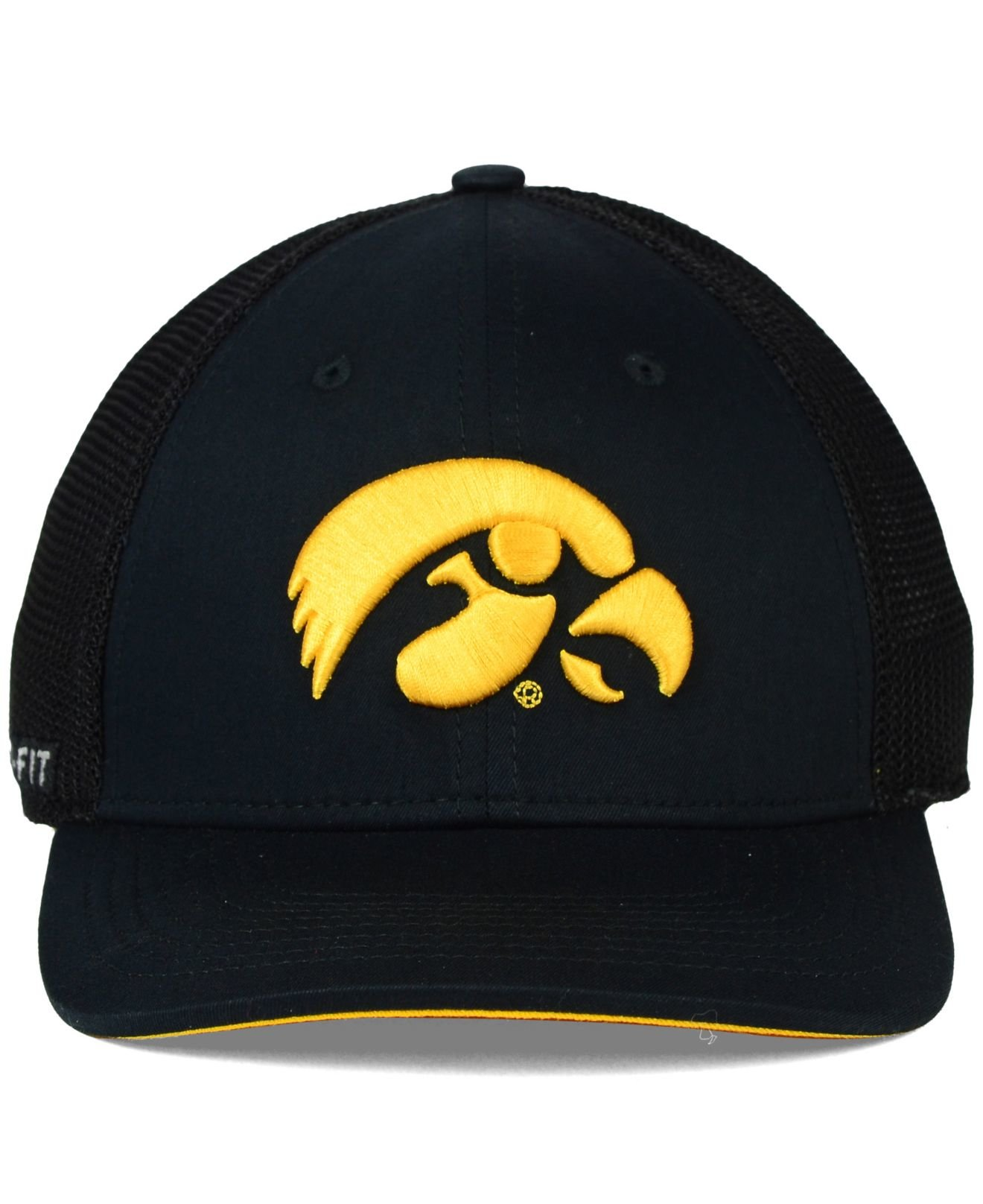 competitive price d45b2 ea019 Nike Iowa Hawkeyes L91 Swoosh Flex Stretch-Fit Cap in Black for Men ...