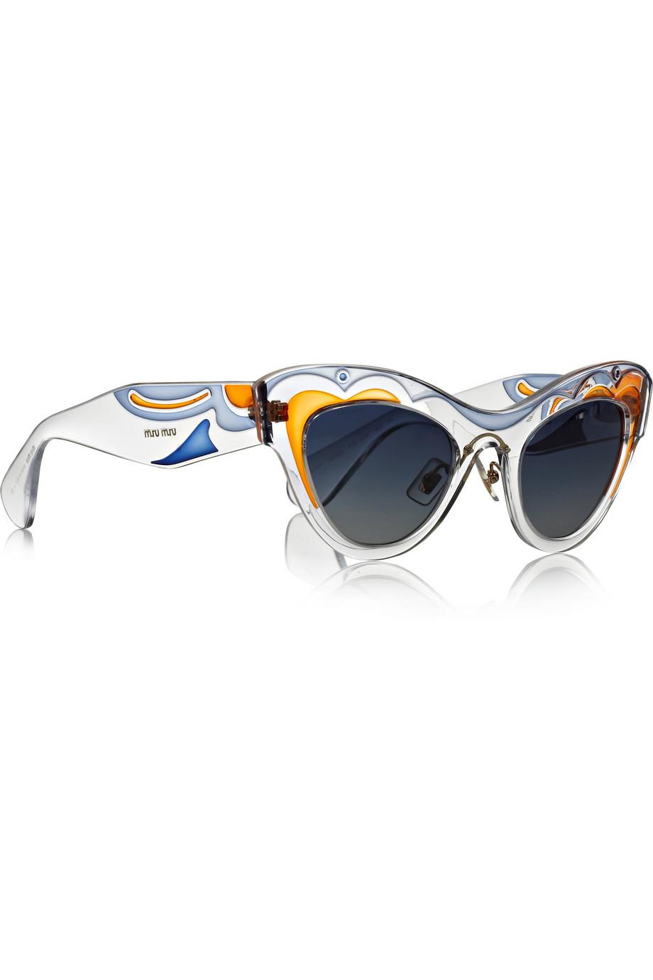 c1c6cf34eb58 Lyst - Miu Miu Painted Cat Eye Acetate Sunglasses