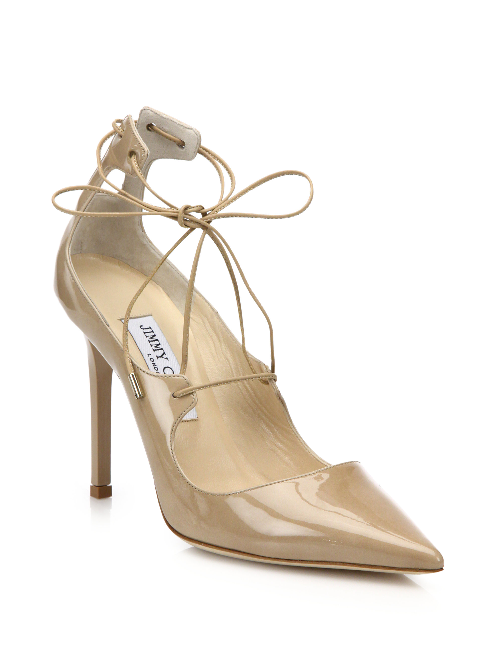 25f4d944937 Lyst - Jimmy Choo Vita Patent Leather Lace-up Pumps in Natural